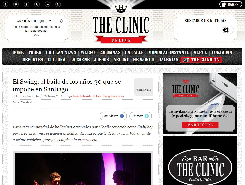 The Clinic publica una crónica de Swingtiago